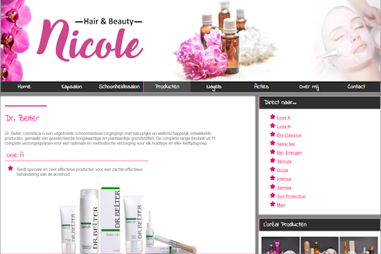 Website Hair and Beauty Nicole